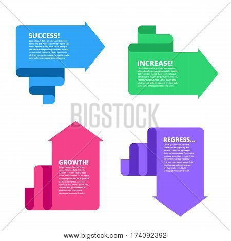 Decline growth success recession business flat concept illustration. Graphs depict increase and decrease business. Vector template element for infographic web presentation social networks.
