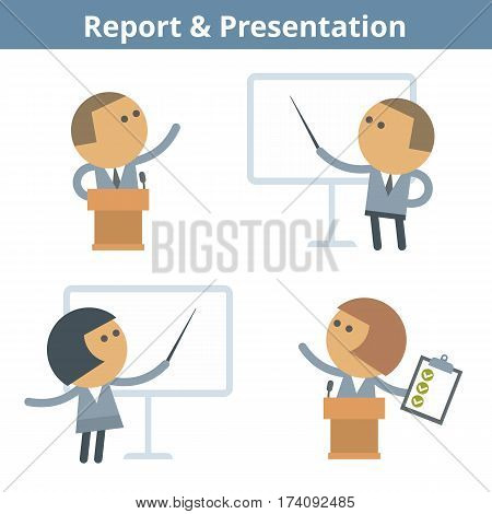 Business cartoon avatar set: report and presentation. Vector flat office seminar conference and lecture people userpic and icons. Collection for web design social networks and infographics.