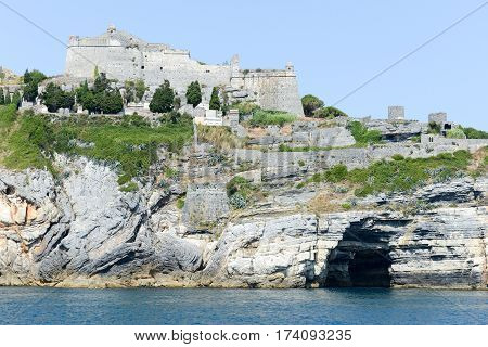 Old Fortless On A Rocky Coastal Outcrop At Portovenere, Italy