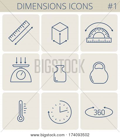 Dimensions and measure outline icons: weight height width depth length angle time temperature. Vector thin line measurement symbol set. Isolated infographic elements for web social network.