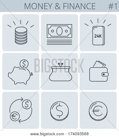 Money business finance outline icons: coins stack gold bullion piggy bank wallet. Vector thin line symbol and sign set. Isolated infographic elements for web presentations social networks.