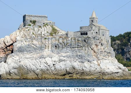 Old Church On A Rocky Coastal Outcrop At Portovenere, Italy