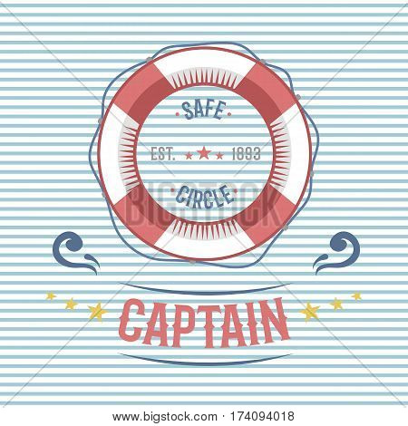 Lifebuoy nautical and sailing themed label or icon with insignia template adventure old traditional ribbon. Travel element graphic emblem with ship sign vector illustration.