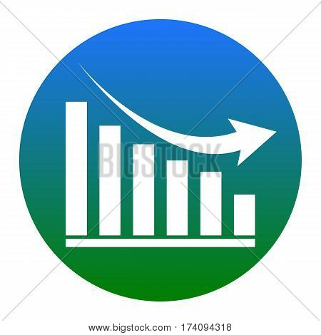 Declining graph sign. Vector. White icon in bluish circle on white background. Isolated.