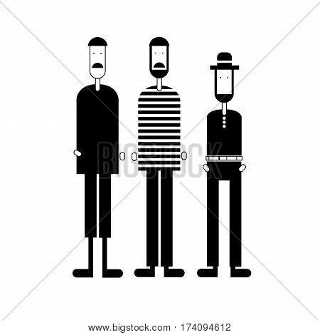vector man shorts sweater head mustache figure