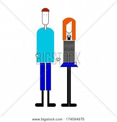 vector pair of woman man shorts skirt sweater