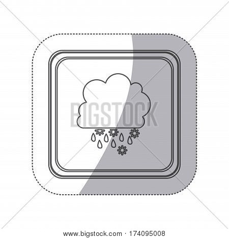 sticker monochrome silhouette square button with cumulus of clouds with snow rain vector illustration