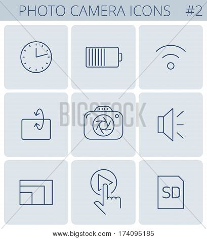 Digital photo camera outline icons: timer wi-fi battery memory card clock turning display sensor resolution. Vector thin line symbol and pictogram set. Infographic elements for web networks.
