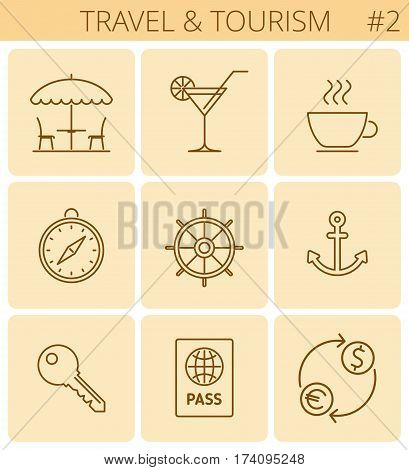 Travel vacation tourism outline icons: restaurant hotel room key open-air cafe passport. Vector thin line symbol and sign set. Isolated infographic elements for web presentation social network.