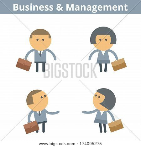 Occupations cartoon character set: businessman businesswoman. Vector flat office business and management professions userpic and icons. Collection for web design social networks and infographics.