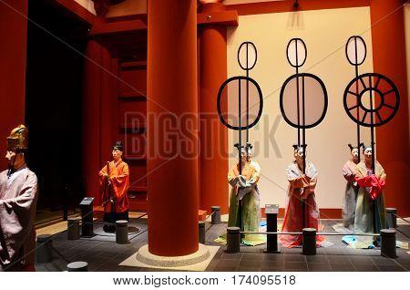Statue Inside Of Osaka Museum Of History Or Osaka Rekishi Hakubutsukan For People Visit And Learn