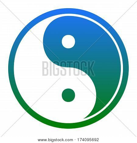 Ying yang symbol of harmony and balance. Vector. White icon in bluish circle on white background. Isolated.
