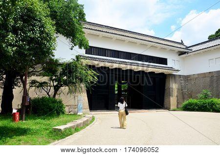 Traveler Thai Woman Walking To Inside Osaka Palace