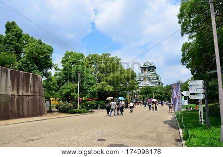 Japanese People And Traveler Foreigner Walking To Inside Osaka Castle Travel And Visit