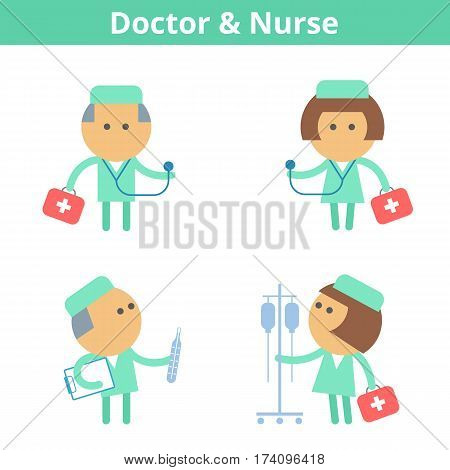 Occupations cartoon character set: doctor medic and nurse. Vector flat medical hospital clinic and health care professions userpic and icons. Collection for web social networks and infographics.