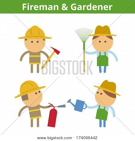 Occupations cartoon character set: fireman firefighter and gardener worker. Vector flat rescue and care professions userpic and icons. Collection for profiles web social networks and infographics.