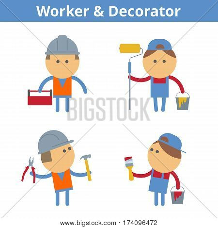 Occupations cartoon character set: workman worker painter and decorator. Vector flat manual labor professions userpic and icons. Collection for profiles web design social networks and infographic.