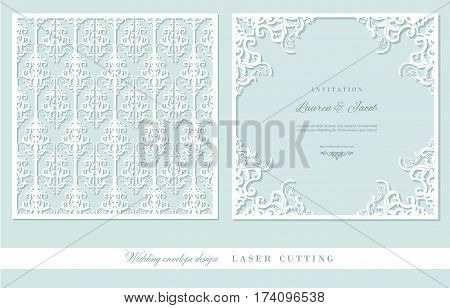 Laser cutting frame and damask panel set. Square filigree cutout envelope design. Front and back. Pastel blue and white colors. Vector.