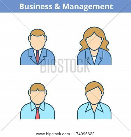 Occupations colorful avatar set: businessman businesswoman consultant manager. Flat line professions userpic collection. Vector thin outline icons for web design social networks and infographics.