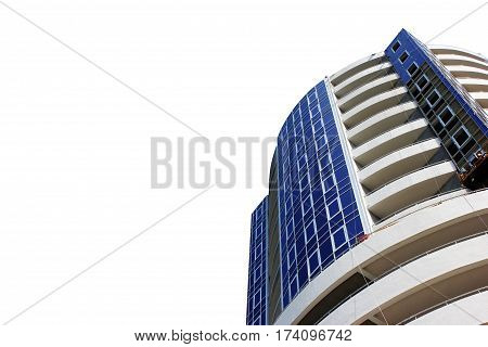 Modern apartment building with balconies apartments building residential condo balconies structure urban facade on isolated white   background