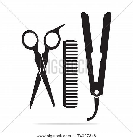 Hair salon with scissors comb icon curling irom icon