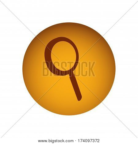 ochre circular button with silhouette magnifying glass vector illustration