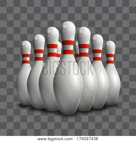Bowling skittles illustration. 3d realistic objects. Eps10 vector.