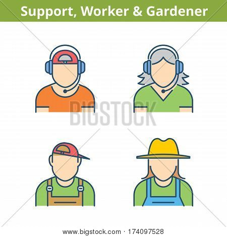 Occupations colorful avatar set: support operator workman gardener. Flat line professions userpic collection. Vector color thin outline icons for profiles web social networks and infographics.