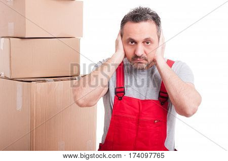 Mover Guy Covering His Ears Like Not Listening