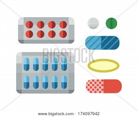 Tablets pills medicine medical on white background drug pharmacy care and antibiotic pharmaceutical healthy vitamin vector illustration. Prescription medicament addiction.