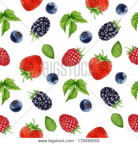Seamless pattern with hand-drawn Berries. Digitally colored illustration.