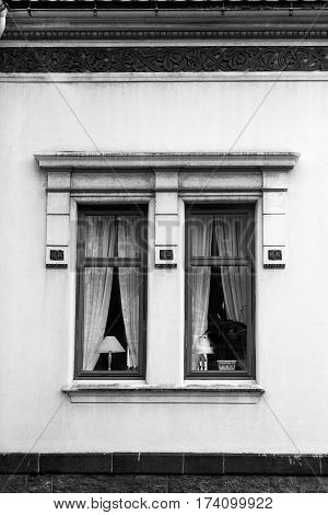 lampshade lit window exterior black white Curtain