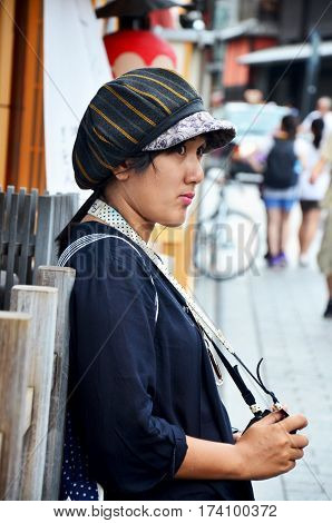 Traveler Thai Woman Posing And Portrait At Popular Area Of Gion