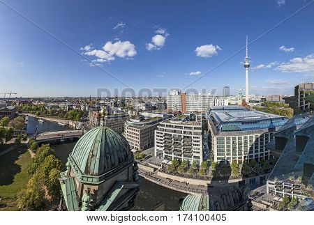 Aerial  View Of Berlin Skyline With Famous Tv Tower At Alexanderplatz