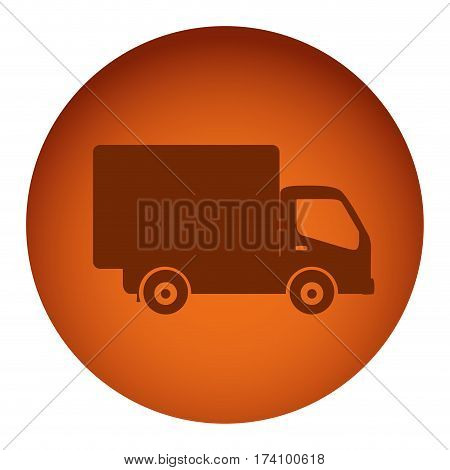 orange color circular frame with silhouette transport truck vector illustration