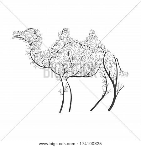 Bactrian camel stylized bushes on a white background for use as logos on cards in printing posters invitations web design and other purposes.