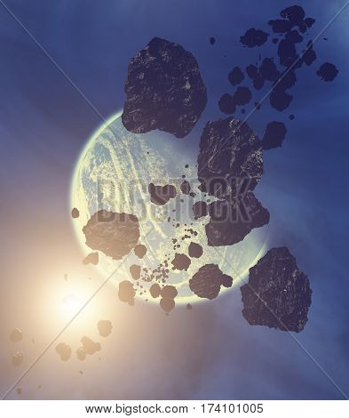 Asteroids, planets and meteors in the Milky Way - 3d render / illustration.