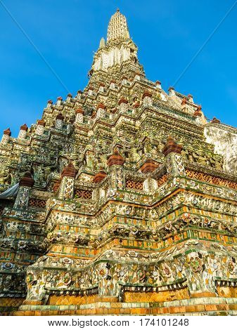 Khmer-style Prang towers of the Wat Arun Temple. Bangkok, Thailand