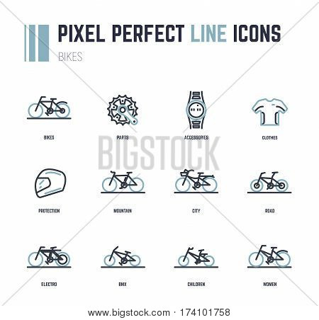 Bike line icons for web site shop or print. Bike frame styles and accessories. Flat style pixel perfect illustration. Contains icons like helmet watch and sport t-shirt with lines.