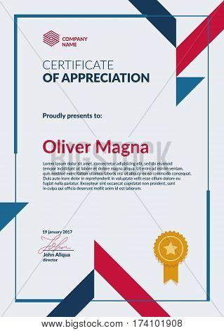 Certificate of Appreciation template. Cool geometric design. Layered eps10 vector. poster