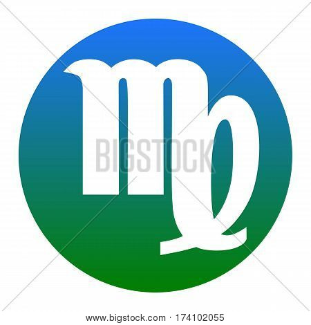 Virgo sign illustration. Vector. White icon in bluish circle on white background. Isolated.