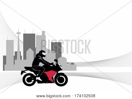Image of motorcyclist riding on the background of the symbolic city