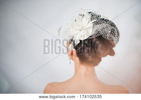 bride's hairstyle and beautiful delicate decoration on the head