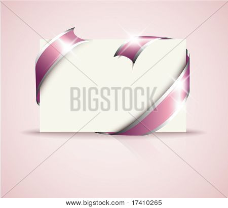 Wedding card - pink around blank white paper, where you should write your text poster