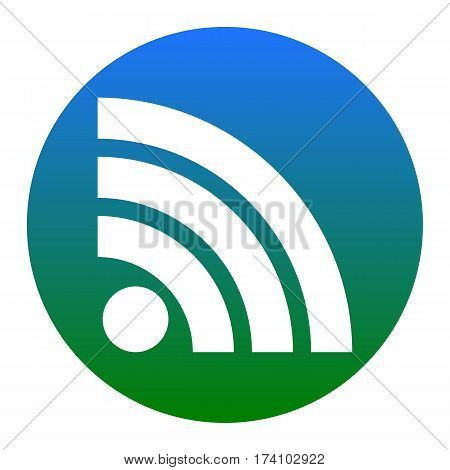 RSS sign illustration. Vector. White icon in bluish circle on white background. Isolated.