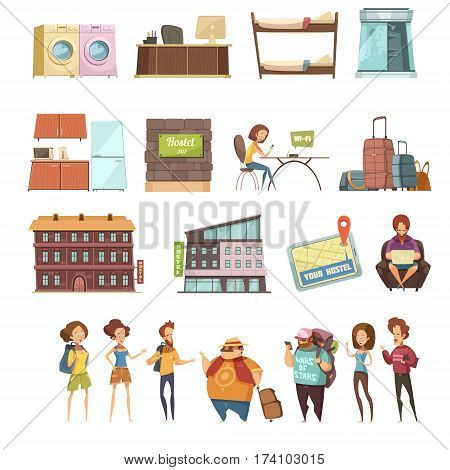 Hostel isolated retro icons set in cartoon style with backpackers guesthouse buildings and elements of hotel interior flat vector illustration