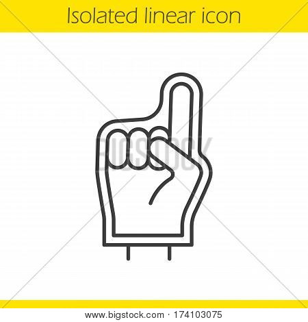 Foam finger linear icon. Thin line illustration. Sport fans foam hand contour symbol. Vector isolated outline drawing