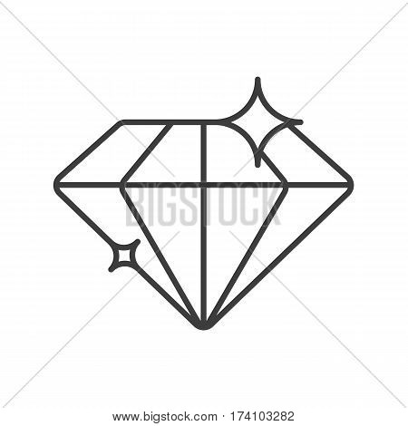 Diamond linear icon. Thin line illustration. Shiny brilliant gem contour symbol. Vector isolated outline drawing
