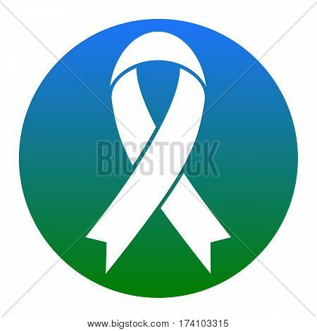 Black awareness ribbon sign. Vector. White icon in bluish circle on white background. Isolated.
