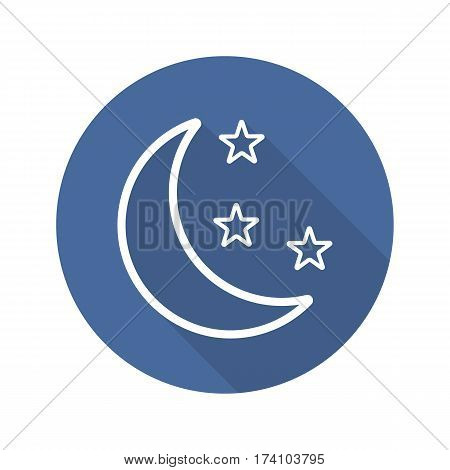 Moon and stars flat linear long shadow icon. Night. Bedtime. Vector line symbol